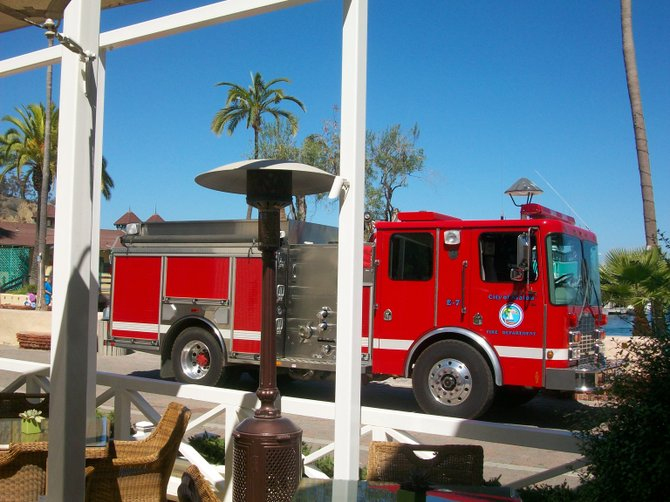 Catalina Island Fire Dept. arrives to check out a false alarm at the Pavilion Hotel.