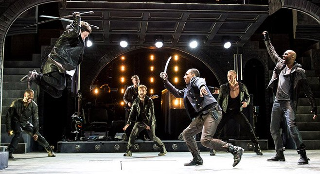 Jeremy Woodard as Tybalt and Brandon Gill as Benvolio.