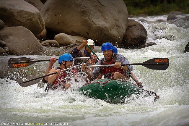Author (right) whitewater rafting on the El Rio Toro River in Costa Rica.