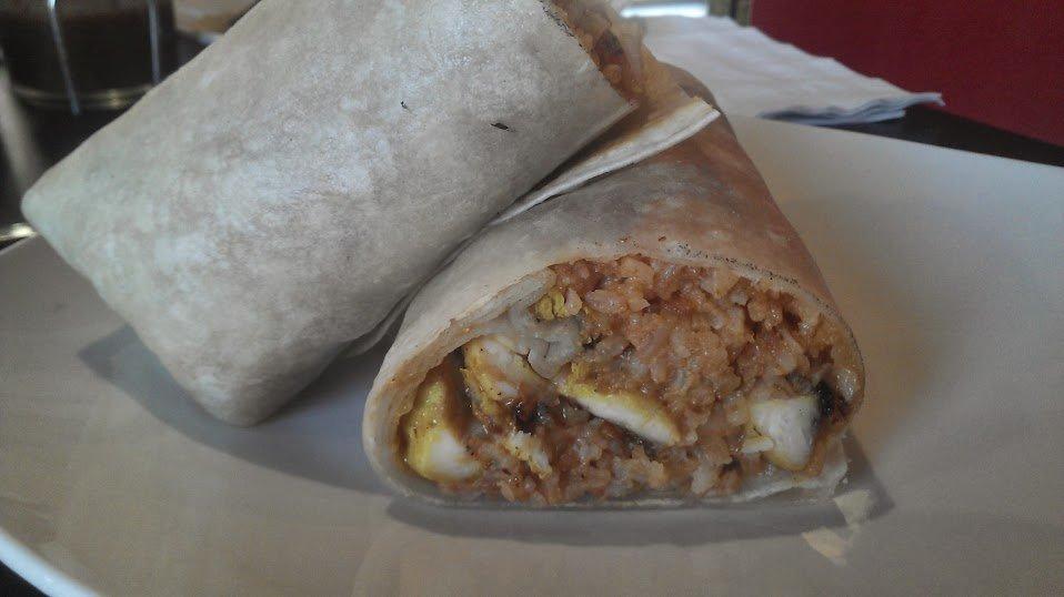 Disappointing chicken satay burrito.
