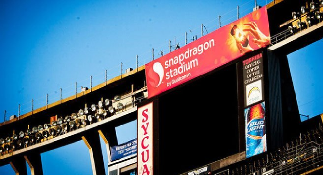 Illegal Snapdragon signage at Qualcomm Stadium