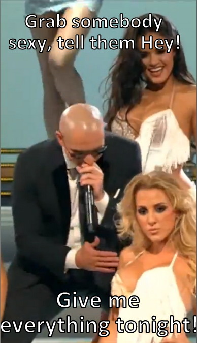 Pitbull in concert, demonstrating technique later imitated by Filner.