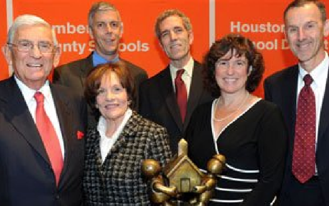 Eli Broad (far left) with San Diego schools chief Cindy Marten (second from right)