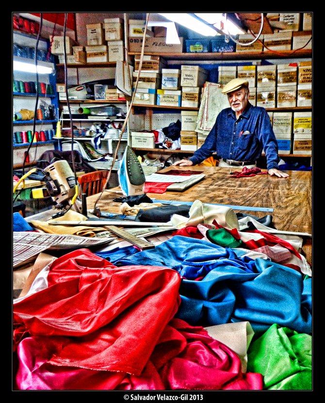 Neighborhood Photos TIJUANA,BAJA CALIFORNIA Don Ramon Gonzalez at his sports apparel sewing shop/Don Ramon Gonzalez en su taller de costura de ropa deportiva.