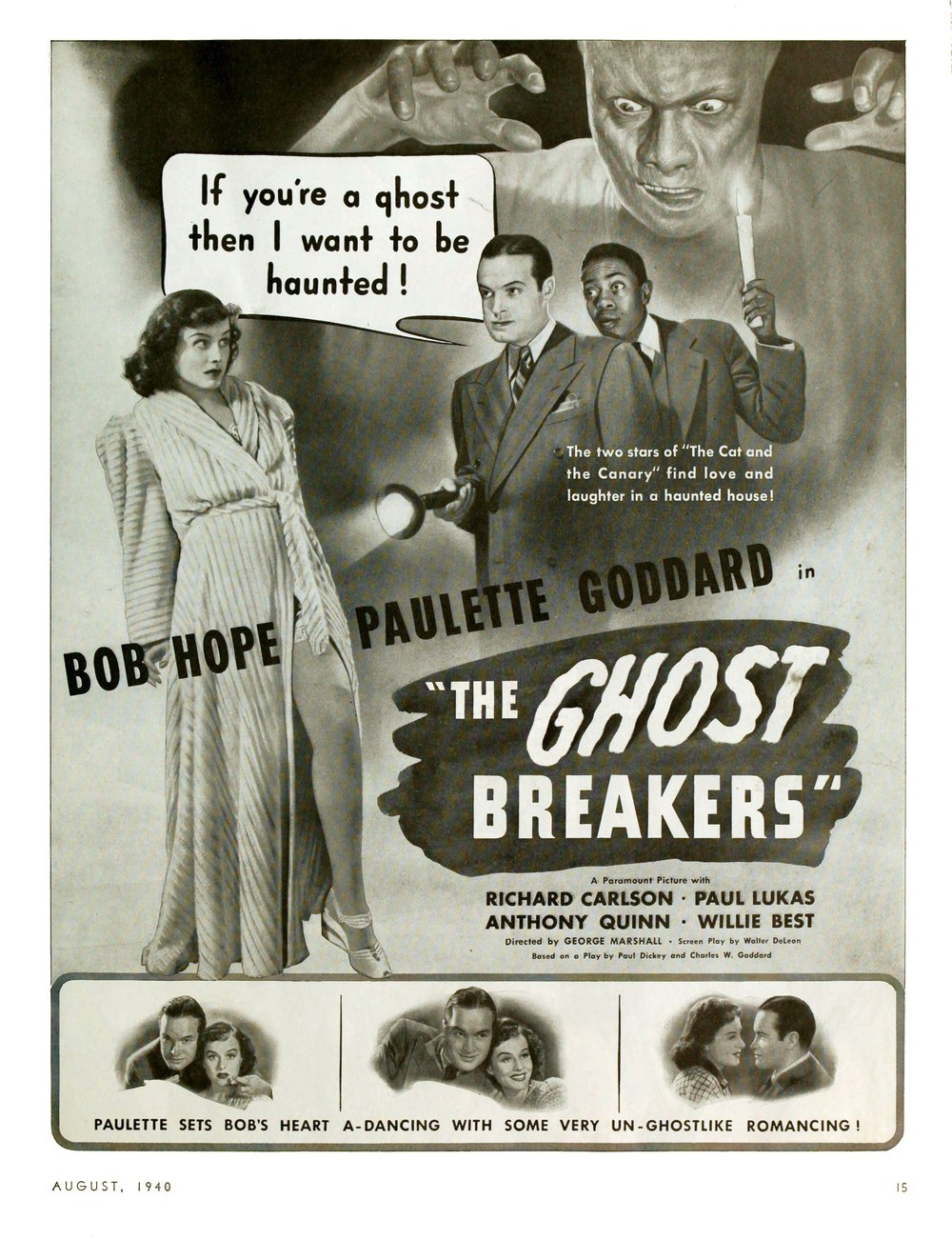 """One of the few legitimately funny Bob Hope vehicles, """"The Ghost Breakers."""" """"Photoplay,"""" August, 1940."""