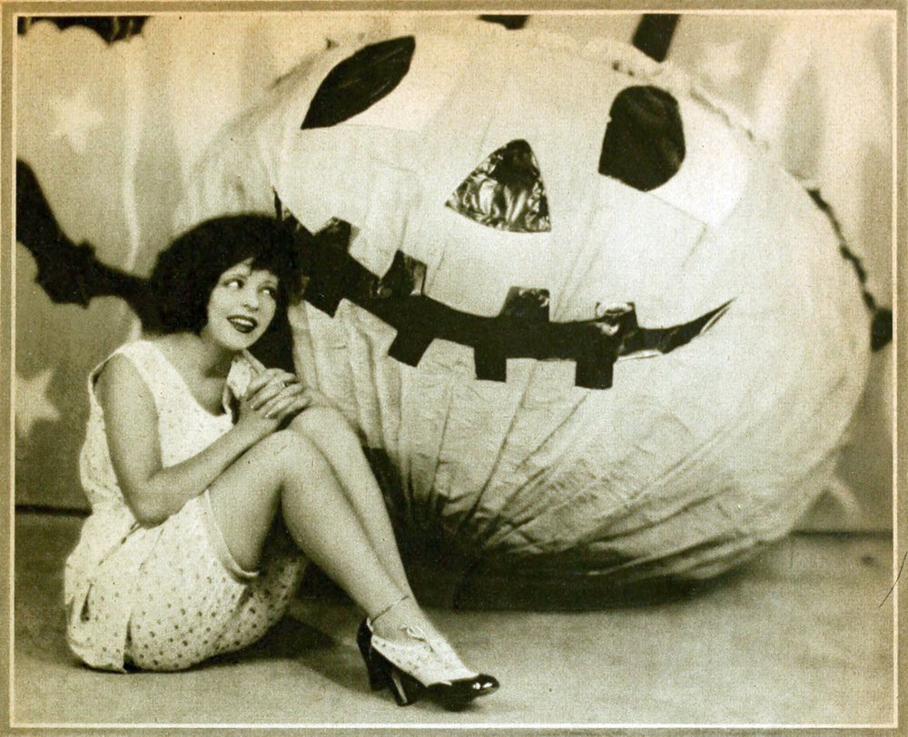 The Paramount art department worked overtime on this adorable burlap pumpkin for Clara Bow to get cozy with.