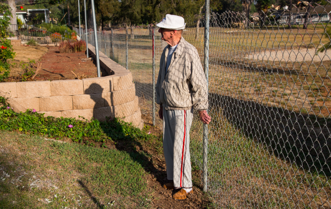 Richard Sheeders was told his garden extended onto former golf-course property by about a foot.