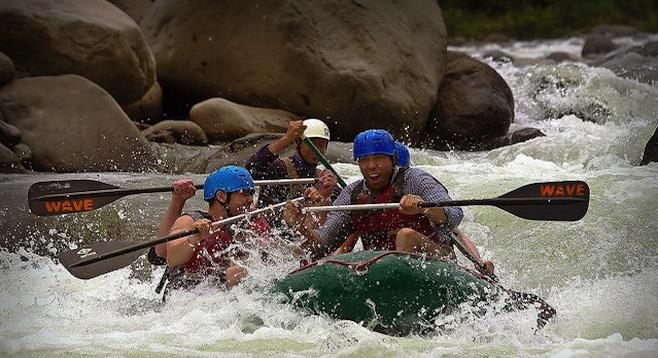 Author (right) whitewater rafting on El Rio Toro.