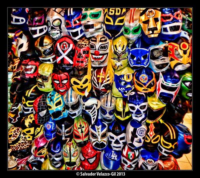 Wrestling masks on sale at Avenida Revolucion shops/ Mascaras de lucha libre a la venta en tiendas de la Avenida Revolucion.