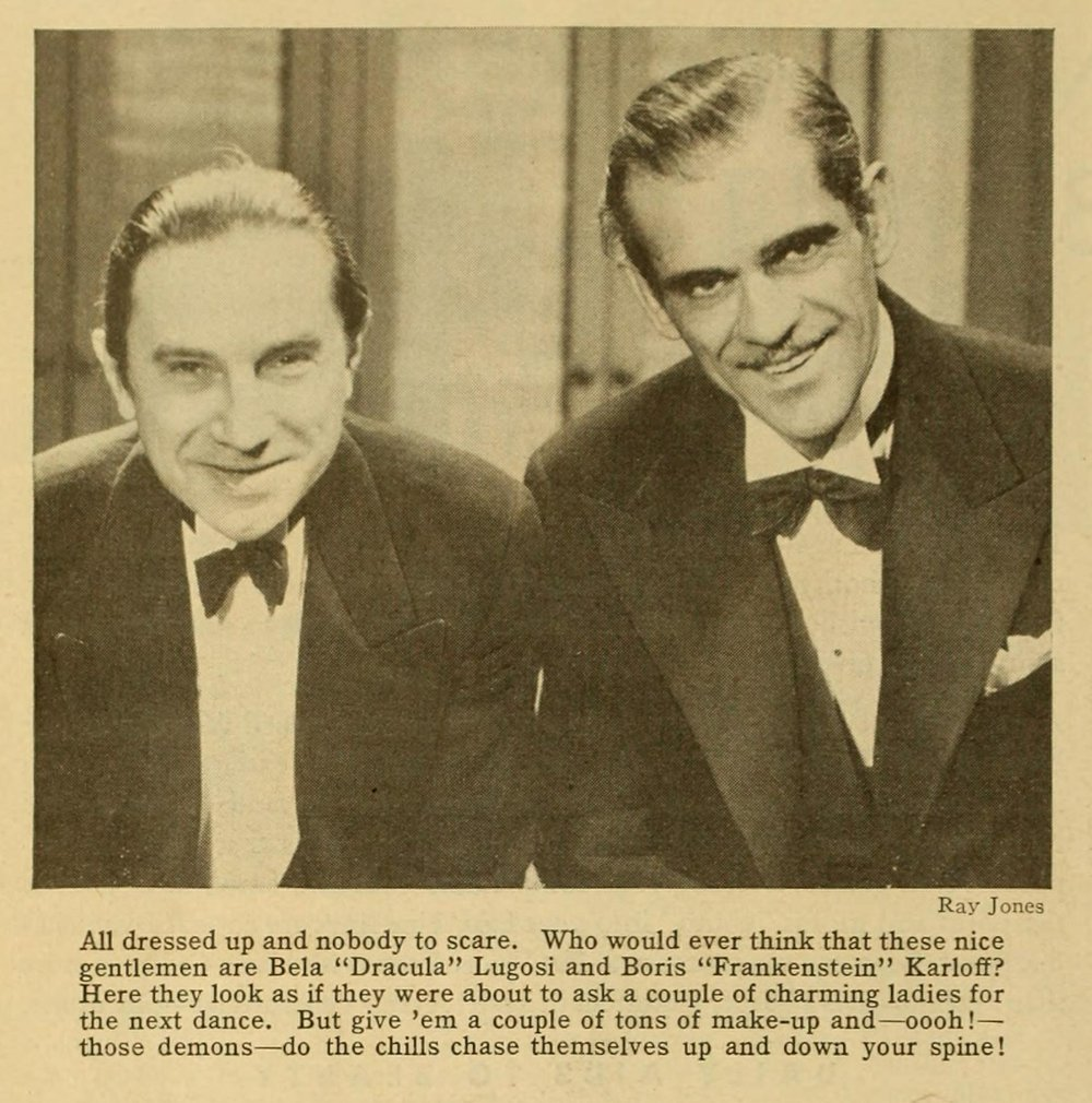"""A rare candid shot of frightening rivals, the Count and Frankie, in a relaxed mood. """"Photoplay,"""" May, 1932."""