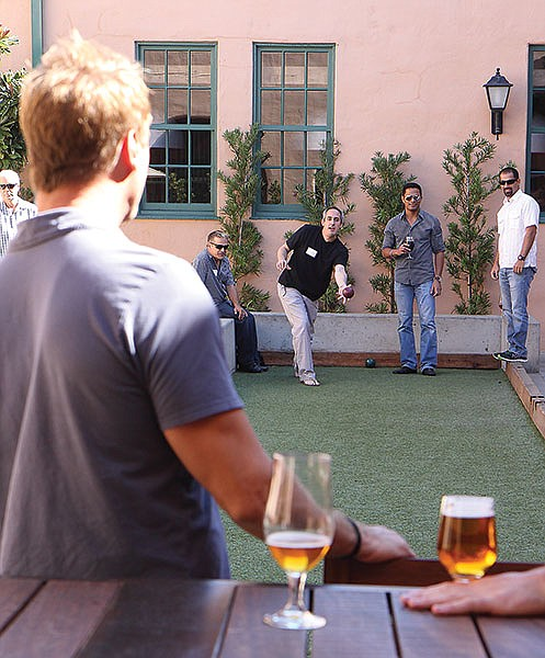 Stone's brewery and restaurant in Liberty Station features a bocce court.