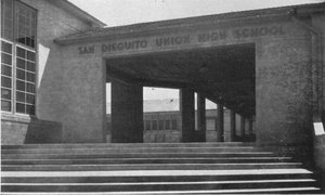 The front of San Dieguito Union High School (SDUHS), from the 1938 Hoofprint yearbook.