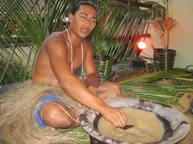 Making kava.