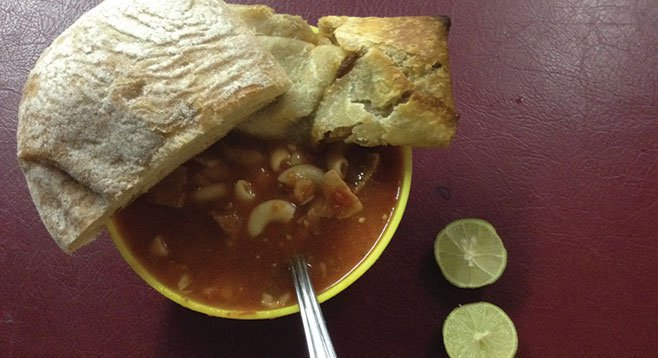 Veggie soup, bean burrito, and a chunk of French bread for $1.30.
