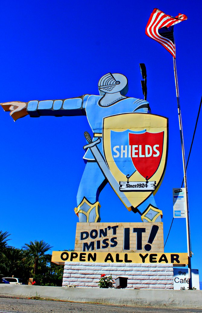 """This larger then life Blue Knight will lead you to the most famous Date Shakes in Indio, CA.  Located at the border of Indio, CA. and La Quinta, CA. off Jefferson St., come and visit as you sip on their famous date shakes. """"it's a Vilma!"""" Vilma Ruiz Pacrem"""