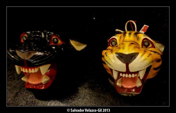 Travel Photos MEXICO CITY Traditional wooden mask/Mascaras de madera tradicionales