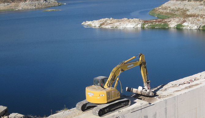 Preliminary work being done on San Vicente Reservoir dam-raise project, 2009