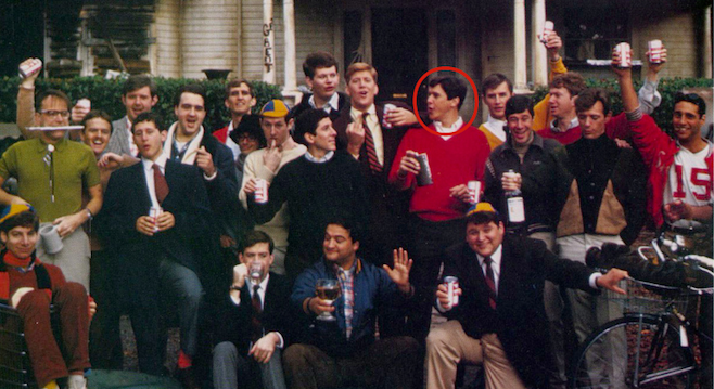 Fletcher outside his college fraternity, circa 1996.