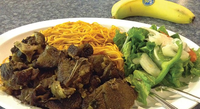 Why spaghetti with the goat meat? Somalians adopted it after a brief Italian occupation.