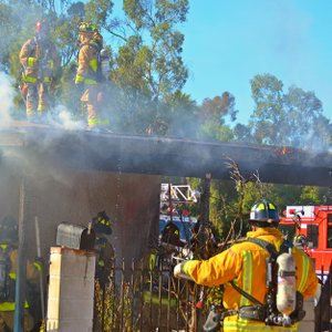 Fire fighters work to extinguish flames at Lincoln Park residence.