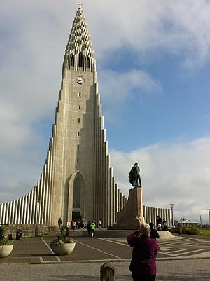 Reykjavik's Hallgrímskirkja, the largest church in Iceland, with Leif Ericcson statue.