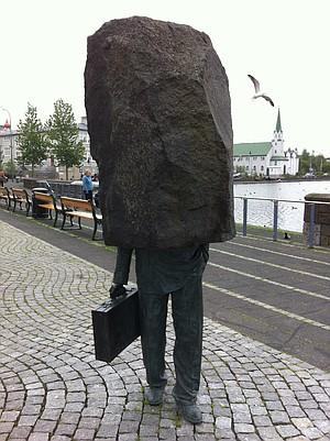 """Everyman"" sculpture in Reykjavik."