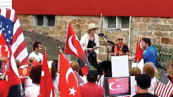 A demonstration of Turkish Americans against Gulen schools in Pennsylvania, where Fethullah Gulen, the alleged founder of Magnolia Public Schools, lives in self-imposed exile.