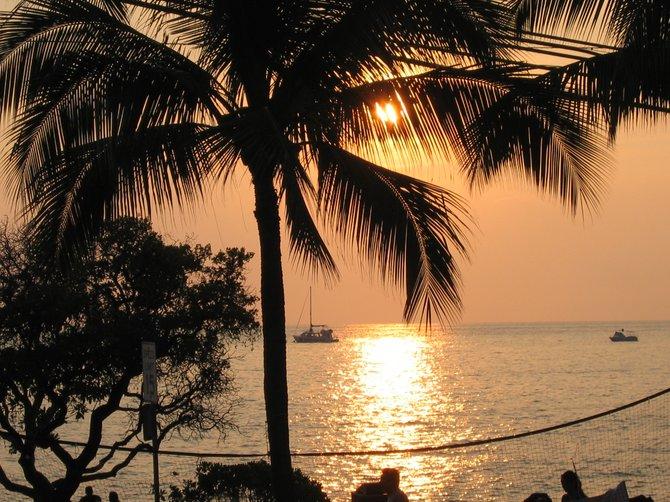 Hawaii, the big island, at sunset.