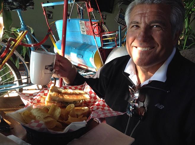 Sorin, coffee, pedicab, tuna melt sandwich
