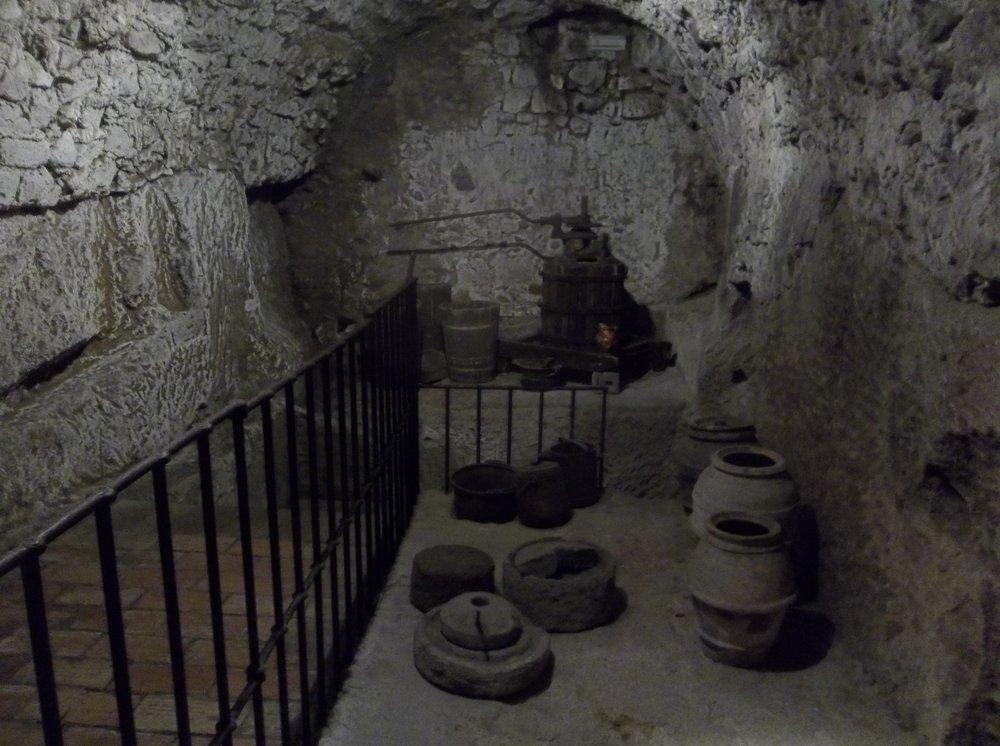 In the tunnels on Orvieto's underground tour.