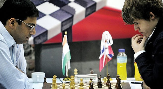 Vishy (left) and Magnus go head-to-head in the World Chess Championship.
