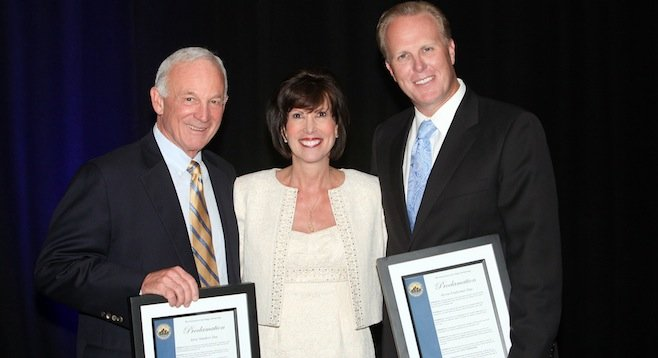 Jerry Sanders, Downtown Partnership CEO Kris Michell, Kevin Faulconer