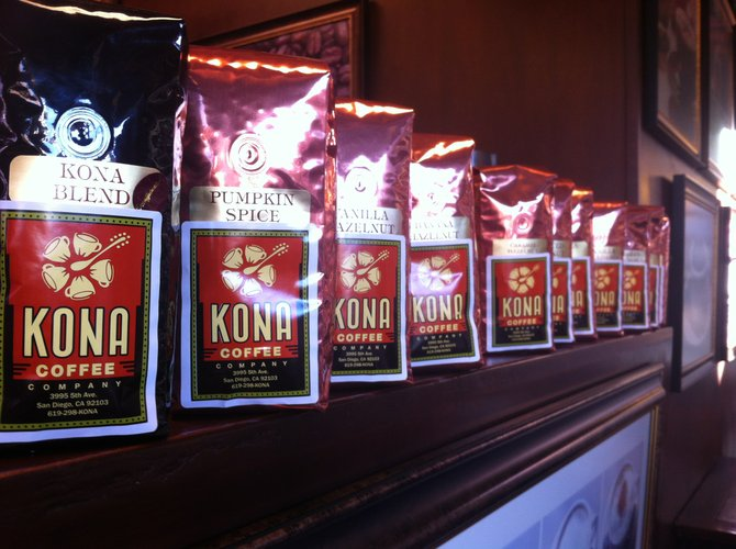 One of the gold mines I uncovered in this food tour of Hillcrest -- the different blends of the famous Kona Coffee, I though I could only get them in Hawaii.