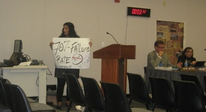 A concerned parent at a recent school board meeting