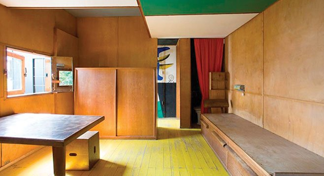 The interior of the Le Cabanon micro-house in France totals 144 square feet.