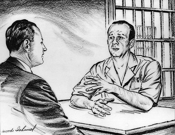 Illustration of Rabbi Silverman (left) meeting with Jack Ruby by Woodi Ishmael.