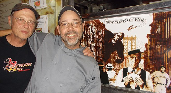 """""""Delicatessens are important to me,"""" says Mark (right) with chef Rick. """"I think of myself as a Delivangelist.... I'm Catholic, but this is my New York food."""""""