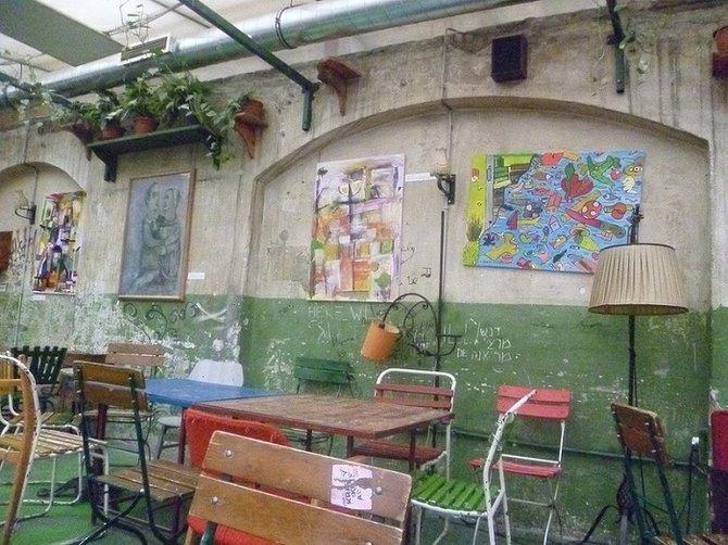 Ruins pub courtyard.