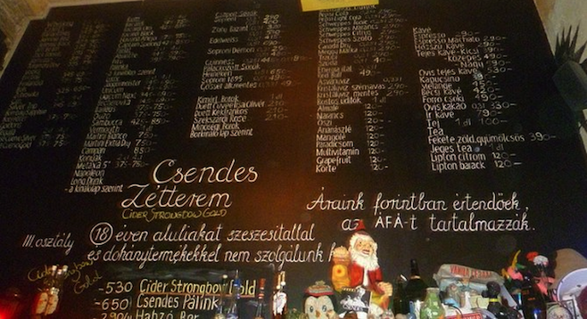 "Menu at one of Budapest, Hungary's unique ""ruin pubs."""