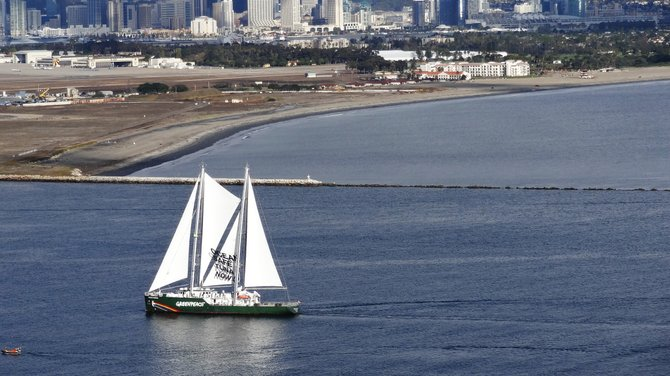 A Greenpeace ship enters San Diego Bay on November 22. The photo was shot from Cabrillo Monument.