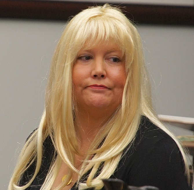Julie Harper wore a bright blonde wig to court today.  She pleads not guilty to murder. Photo by Eva