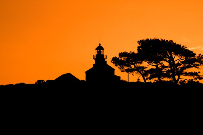 Cabrillo Lighthouse at sunset.