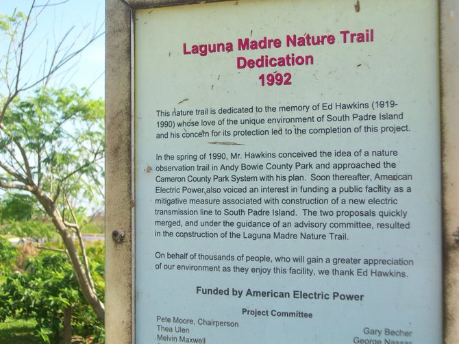 Laguna Madre Trail Declaration in South Padre Island, Texas.