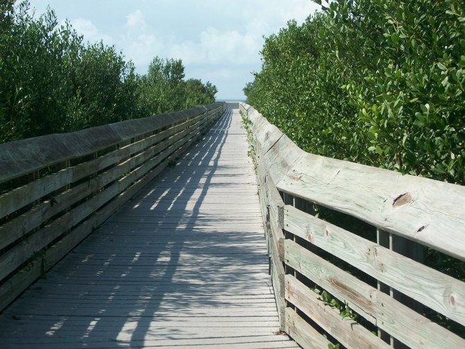 Laguna Madre boardwalk in South Padre Island, Texas.