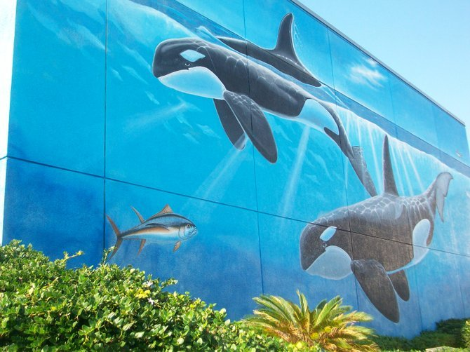 Whaling Wall located near South Padre Island Convention Center in Texas.