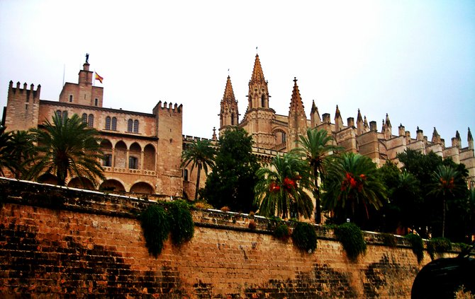 The old cathedral at the port of Palma.
