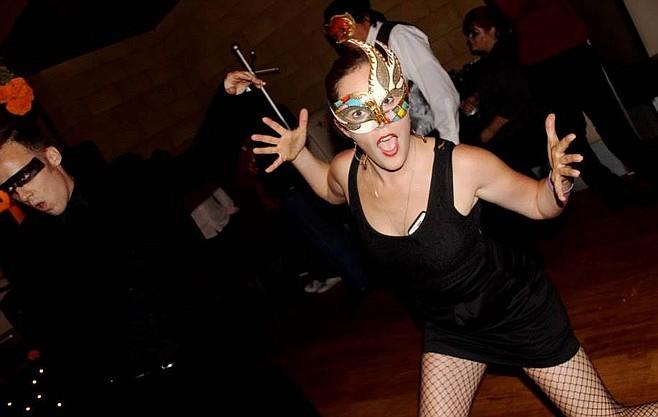 Erin Kerns in an art deco mask