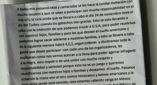 Note that was circulated in advance of border-crossing incident