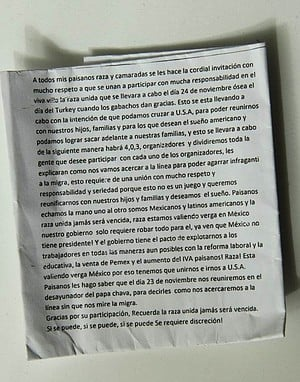 Anonymous note circulated among Bordo residents and migrants
