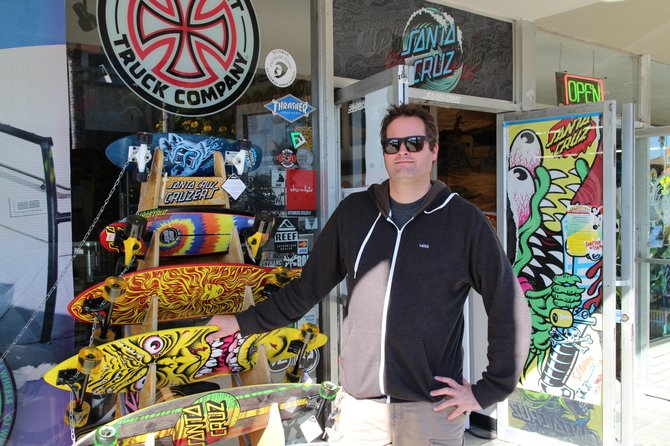 Outside the Santa Cruz Boardroom in Santa Cruz, CA. Local skateshop with lots of legendary decks, many of which feature the incredible artwork of Jim Phillips.